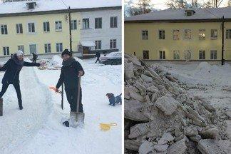 """""""Это самовольное сооружение"""": на Эльмаше коммунальщики закидали глыбами снега горку, которую построили жильцы"""