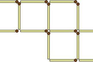 Переложите две спички из шестнадцати так, чтобы получилось 6 квадратов.