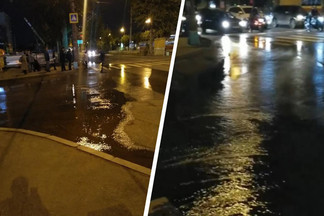Проспект Космонавтов заливает кипятком. Объясняем, почему улица превратилась в реку