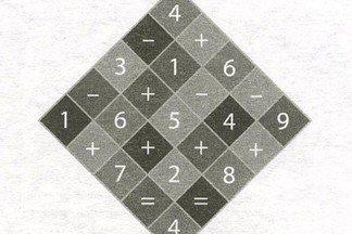 Найдите правильный путь от верхнего квадрата до нижнего, чтобы уравнение получилось верное.