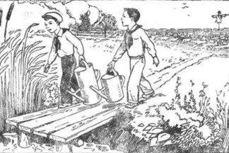 Кто из этих двух мальчиков сможет принести в своей лейке больше воды для полива огорода?