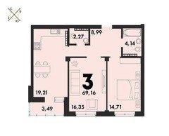 3 комнатные квартиры S=69,16 м²