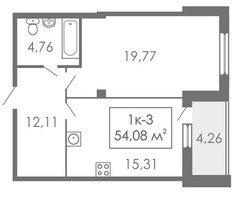1 комнатные  квартиры 1К-3, 54,08 м²