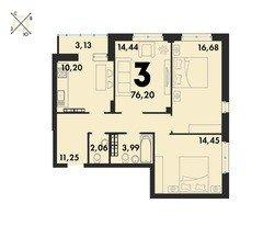3 комнатные квартиры S=76,2 м²