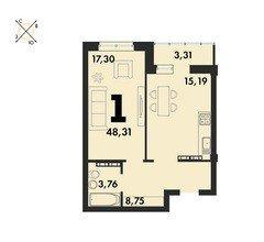 1 комнатные  квартиры S=48,31 м²
