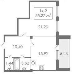 1 комнатные  квартиры 1К-2, 55,05 м²