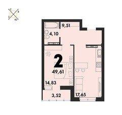 2 комнатные квартиры S=49,61 м²