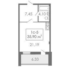 Студии Квартира-студия, 1С-5, 35,9 м²