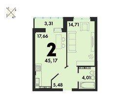 2 комнатные квартиры S=45,17 м²