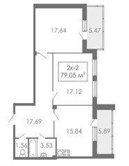 2 комнатные квартиры 2К-2, 79,05 м²