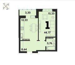 1 комнатные  квартиры S=44,17 м²