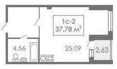 Студии Квартира-студия, 1С-2, 37,78 м²