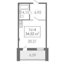 Студии Квартира-студия, 1С-4, 34,52 м²