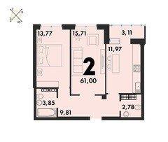 2 комнатные квартиры S=61,00 м²