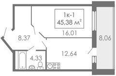 1 комнатные  квартиры 1К-1, 45,38 м²