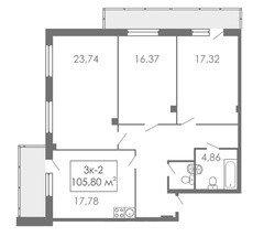 3 комнатные квартиры 3К-2, 105,8 м²