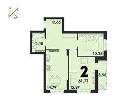 2 комнатные квартиры S=61,71 м²