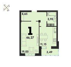 1 комнатные  квартиры S=46,27 м²