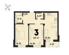 3 комнатные квартиры S=69,17 м²