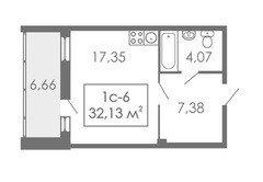 Студии Квартира-студия, 1С-6, 32,13 м²