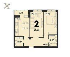 2 комнатные квартиры S=61,36 м²