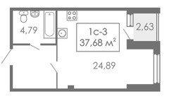 Студии Квартира-студия, 1С-3, 37,68 м²