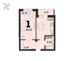 1 комнатные  квартиры S=44,22 м²