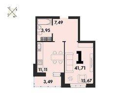 1 комнатные  квартиры S=41,71 м²