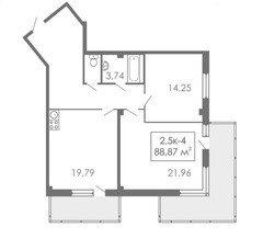 2,5 комнатные квартиры 2,5К-4, 88,87 м²