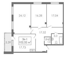 3 комнатные квартиры 3К-1, 102,32 м²