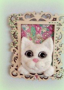Fabrika Masterov Магнит на холодильник Белый котик - фото 1