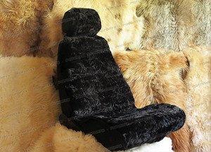 Fabrika Masterov Меховые накидки на сиденья авто «Овчинная мозаика» (2 шт.), черные - фото 1