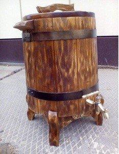 Fabrika Masterov Жбан деревянный на ножках. Бочка кедровая для напитков - фото 1