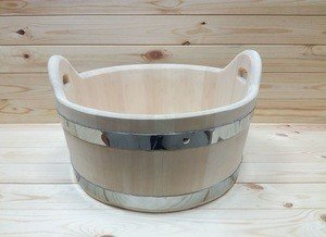 Fabrika Masterov Шайка деревянная 15 литров. Тазик для бани - фото 1