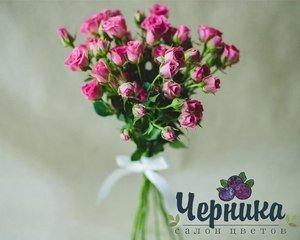 Магазин цветов Черника Монобукет из кустовых роз - фото 1