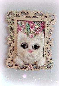 Fabrika Masterov Магнит на холодильник Белый котик - фото 3