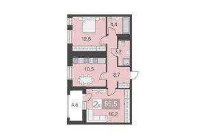 2 комнатные квартиры 2 комнатная квартира, S - 55.5 м.кв.. - фото 1