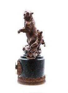 "Fabrika Masterov Часы ""Охота на медведя"" - бронза, натуральный камень - фото 3"