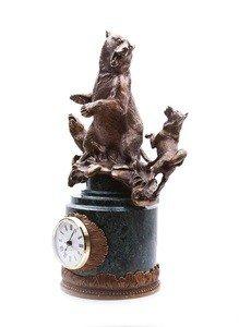 "Fabrika Masterov Часы ""Охота на медведя"" - бронза, натуральный камень - фото 6"