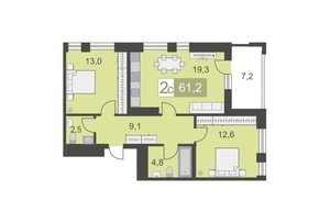 2 комнатные квартиры 2 комнатная квартира, S - 61.3 м.кв.. - фото 1