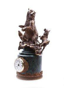 "Fabrika Masterov Часы ""Охота на медведя"" - бронза, натуральный камень - фото 5"